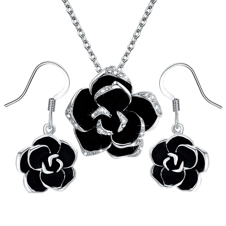 Yoursfs - Parure de bijoux pour femmes avec pendentif et boucles d'oreilles en forme de rose noire à bords doré - Plaqué or 18carats serti de cristaux autrichiens Italina S010R1