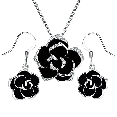 Amazon yoursfs black rose flower valentines gift jewelry yoursfs black rose flower valentines gift jewelry sets rose pendant necklace dangle earrings aloadofball Gallery