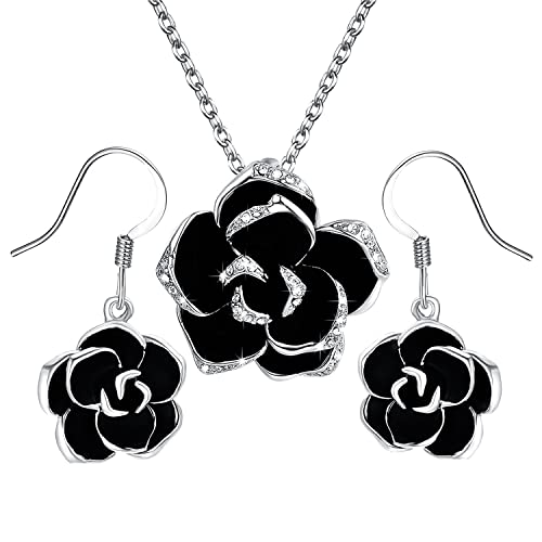 293bf8093eb Yoursfs  Jewellery Set  18ct White Gold Plated Crystal Flower Designed Jewellery  Set for Women Black Rose Pendant Necklace and Earrings Set Prom Gift  ...
