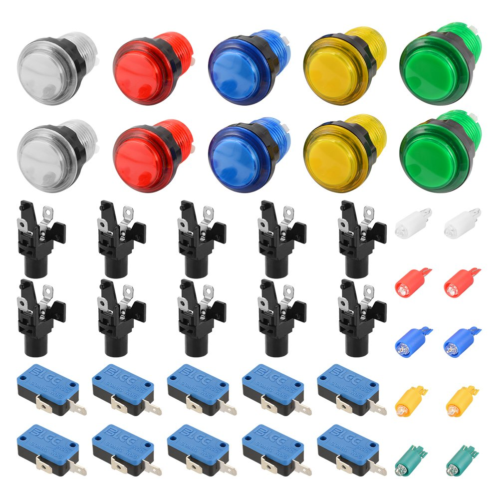 XCSOURCE 10pcs LED Light Illuminated Gaming Push Button with Microswitch for Arcade Machine Games Mame Jamma Parts AC893