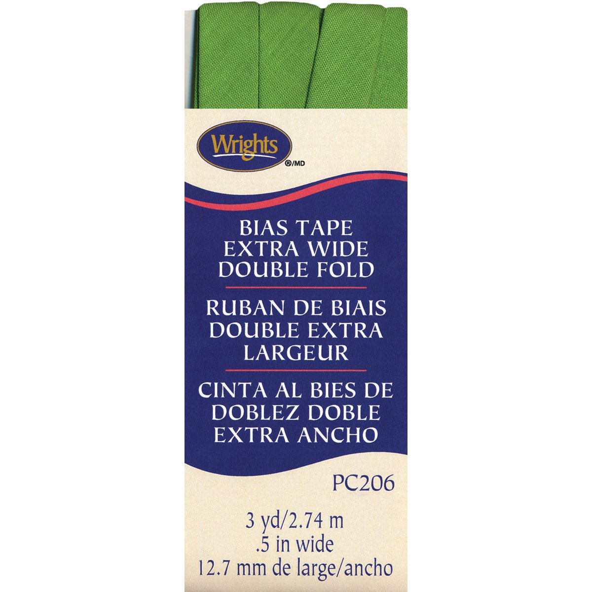 Wrights 117-206-1136 Double Fold Bias Tape, 1/2 by 3-Yard, Kiwi