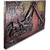 Phoenix Company 388 Tableau métallique en 3D Motif moto et insigne Route 66 140 x 70 x 7 cm