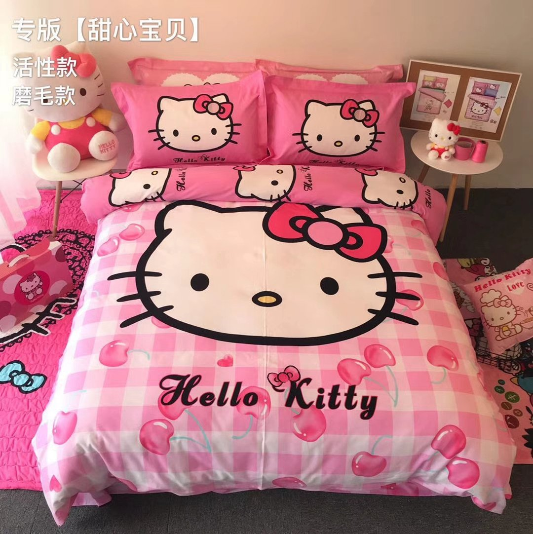 Casa 100 %コットンキッズ寝具セットGirls Hello Kitty最初の羽毛布団カバー、枕カバー、フラットシート、女の子、4ピース キング B0789GK3WHフラットシーツ キング
