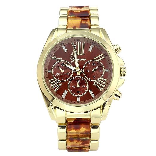 Relojes JSDDE, XL Chrono centro de reloj para hombre dorado con cronógrafo y tres falsos