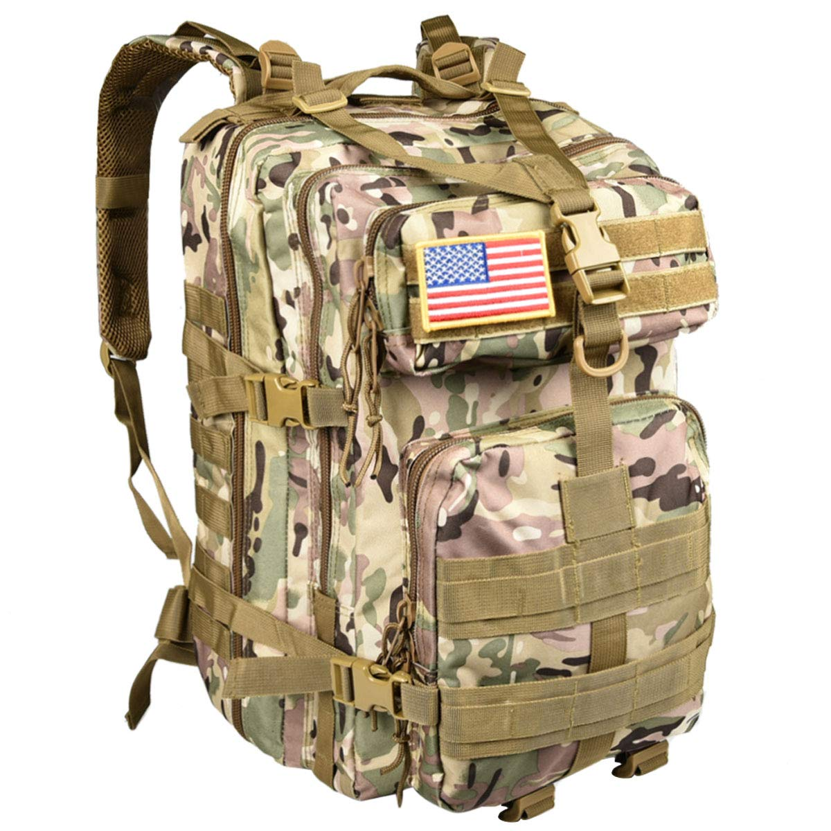 NOOLA 40L Military Tactical Army Backpack 3 Day Pack Molle Bag Backpack Rucksacks for Outdoor Hiking Camping Trekking Hunting with Flag Patch Multicam CP
