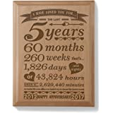 5th Anniversary Solid Wood Plaque (5 Years & 60 Months) - Includes 2012 (Marriage Year) and 2017 (5th Anniversary Year)