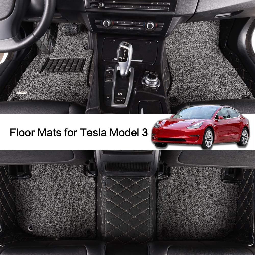 AOYMEI Floor Mats for Tesla Model 3 Custom Fit 2019 Double Layer Fully Surrounded Protection Waterproof All-Weather Heavy Duty Detachable Wire Loop Nonslip Front and Second Row (Black)