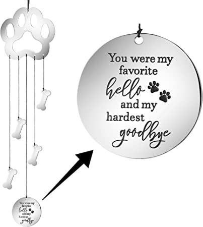 Amazon Com Memgift Dog Memorial Wind Chime Paw Print Pet Sympathy Garden Gifts For Her Women Teen Girls Personalized Remembrance Fot Pet Loss Garden Outdoor
