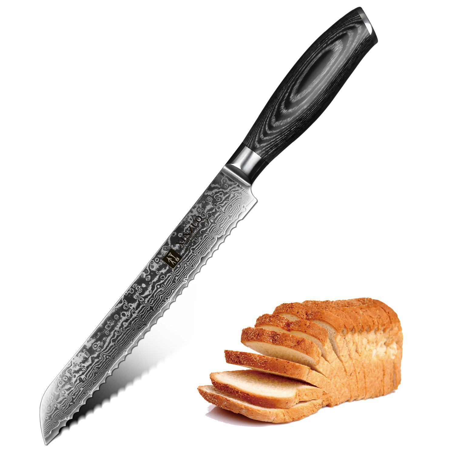 XINZUO 8 Inch Bread Knife High Carbon 67 Layer Japanese VG10 Damascus Super Steel Kitchen Knife Professional Chef's Knife with Pakkawood Handle - Ya Series
