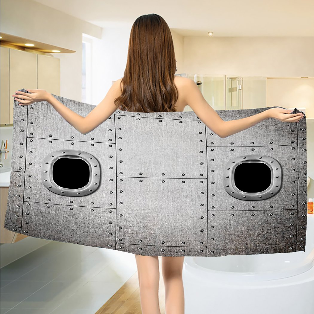 Vintage Airplane Bathroom Towels Airplane Windows Close Up Image Military Forces Detail Steampunk Style Towels Set Grey Black