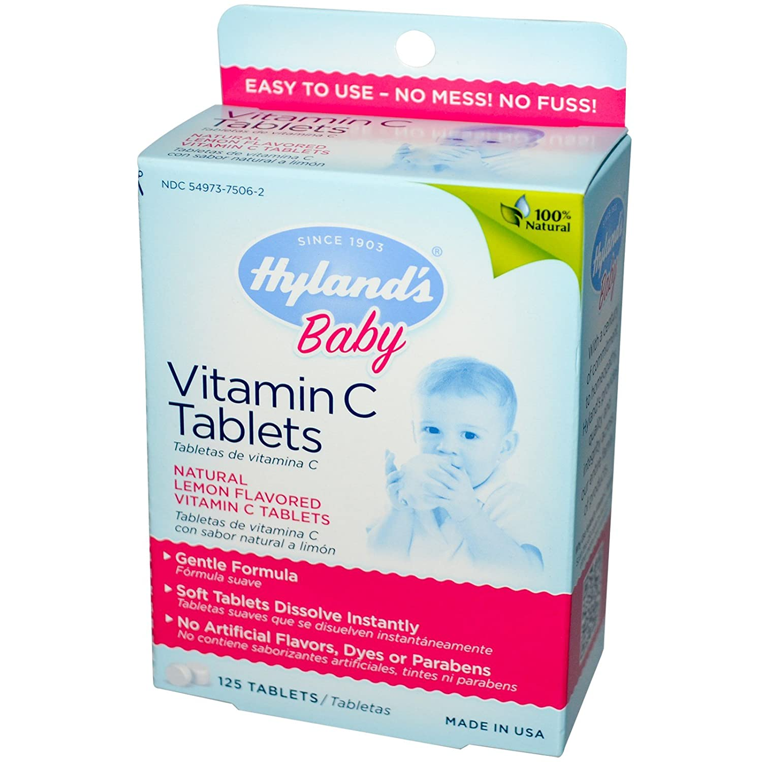 Amazon.com: Hylands, Baby, Vitamin C Tablets, Natural Lemon Flavored, 125 Tablets - 3PC: Health & Personal Care