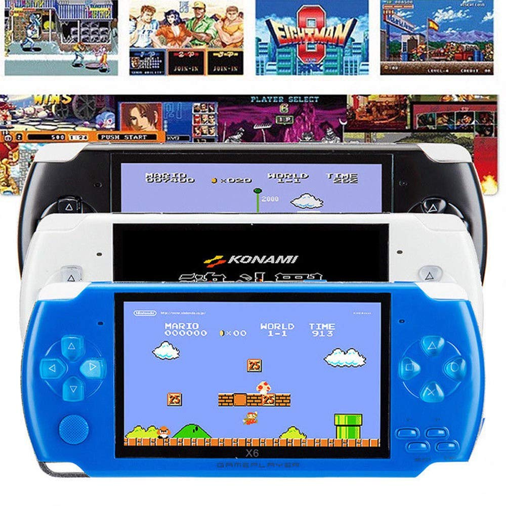 Womdee Handheld Game Console with Built in Games,Portable Video Games for Kids Retro,Built-in 500 Classic Video Games Player with 4.3'' 8GB System for Birthday Presents Kids Children Adults (Blue) by Womdee (Image #4)
