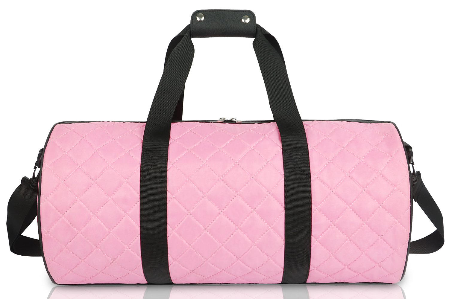 FITMYFAVO 20'' Duffle Yoga Dance Gym Bag Weekender Grid Pattern Overnight Carry On (Pink)