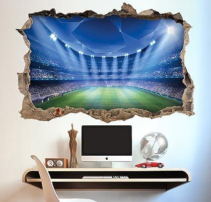 f6df7010 Football Stadium Wall Sticker 3D Look - Boys Kids Bedroom Wall Decal ...