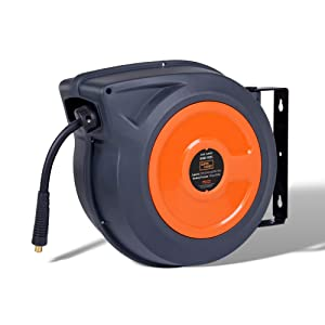 """SuperHandy Air/Water Hose Reel Retractable 3/8"""" x 50' Feet Long Industrial Premium Commercial Flex Hybrid Polymer Hose Spring Driven Polypropylene Heavy Duty with Lead in Hose & PVC Handle"""