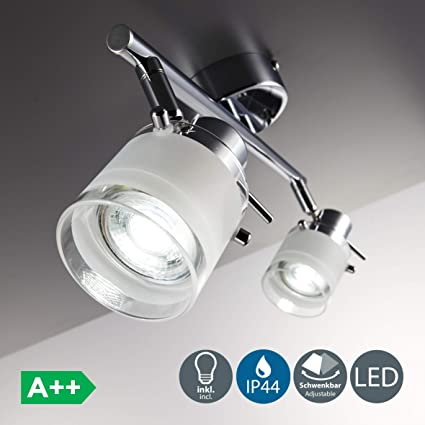 Focos de techo para baño LED IP44 incl. 2x5W bombillas GU10, Giratorio y orientable, luz blanca cálida 3000K, Metal en Cristal satinado , Color cromo, ...