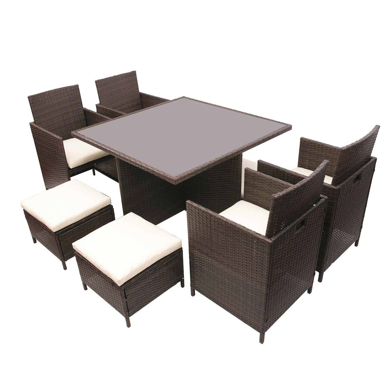 BTM) Muebles de jardín de mimbre de patio jardín de Entertaining Set ...