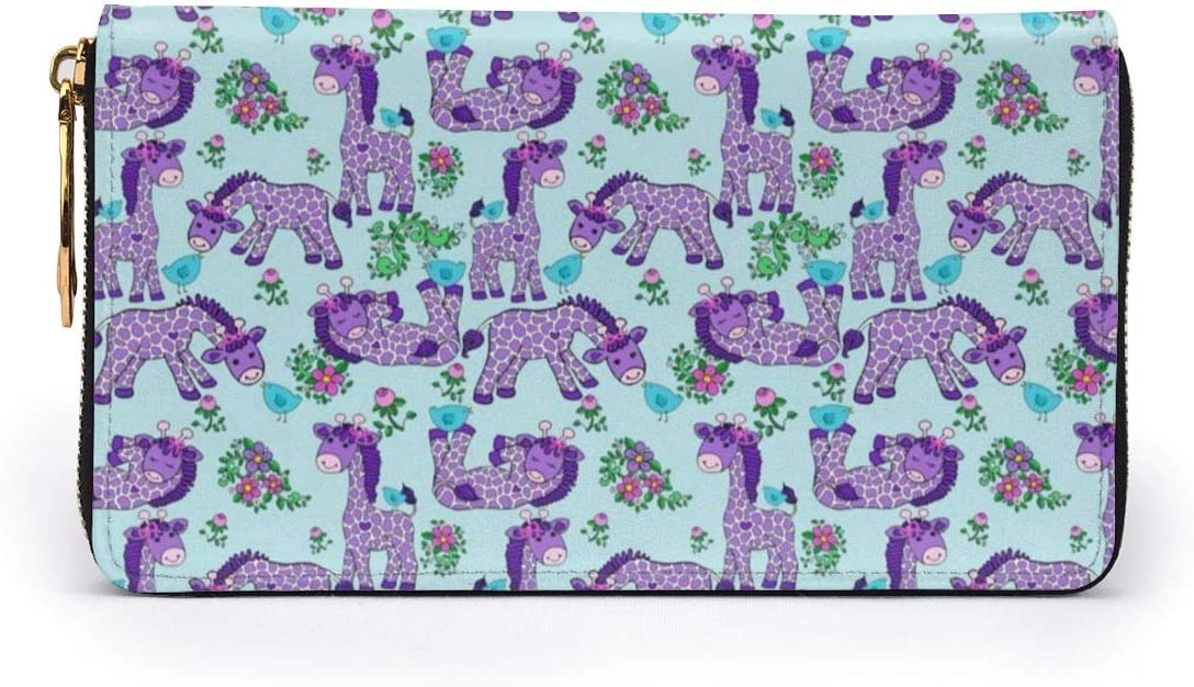 Lavender Giraffe Purple Womens RFID Blocking Zip Around Wallet Genuine Leather Clutch Long Card Holder Organizer Wallets Large Travel Purse