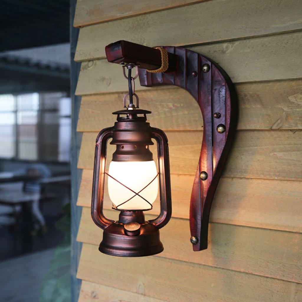 Bideng Lampada da parete antica d'epoca Camera da letto balcone luce di bambù lampada a cherosane Bar cafe ferro decorativo lampada da parete