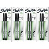 Sharpie Pen Stylo, Fine Point Pen, 2 Count X 4, 8 Black Pens Total (1742659)