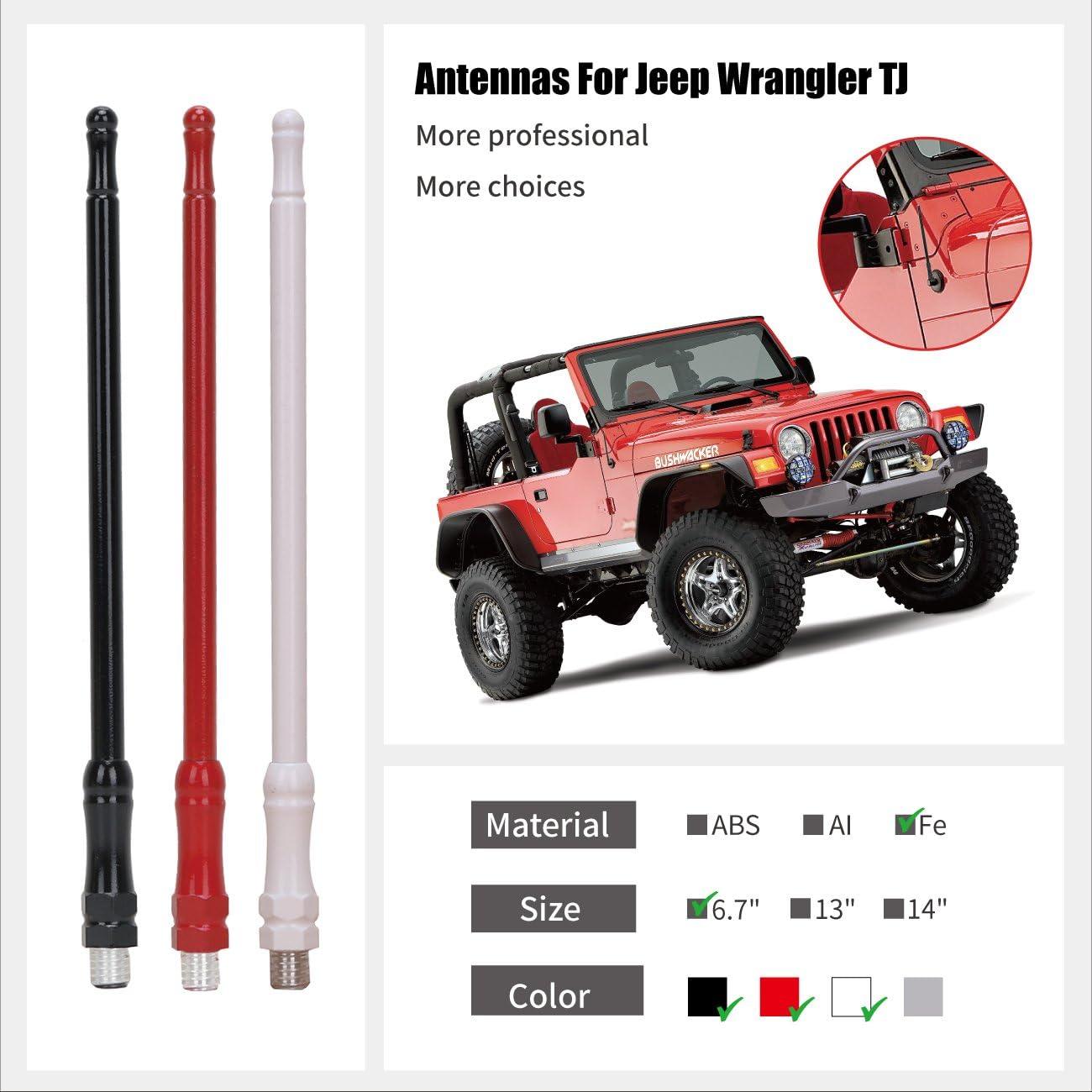 aluminio antena reemplazar 6,7/pulgadas AM FM Radio Antena hierro /2006/Wrangler TJ BOXATDOOR Antena para 1997/