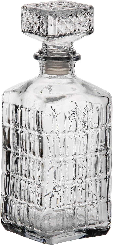 Botella Cristal Vidrio para Licores Licorera Decantador Whisky Vintage 1L Coñac Brandy Tallado - Jarra Licor Diseño Clasica Transparente Vino Vozka - Chupitos Ideal Botellas Regalo Vacia Decoracion.