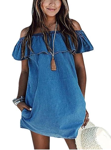 bd514e0094ae ABD Womens Blue Jean Legging Off Shoulder Ruffle Short Sleeve Loose Mini Dress  Denim Blue Small
