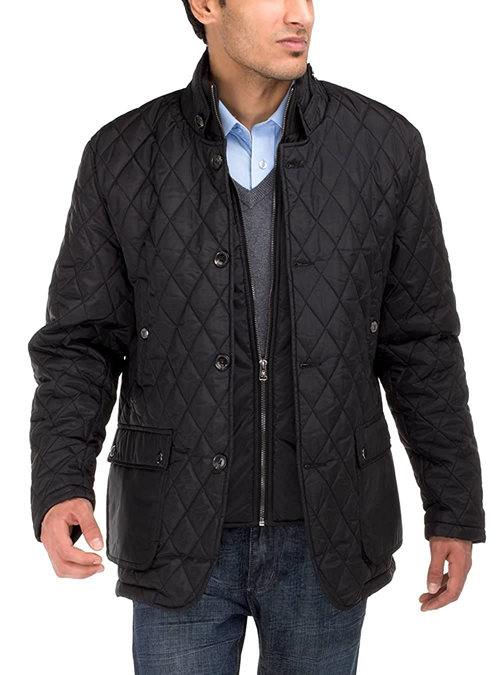 Luciano Natazzi Mens Quilted Puffer Jacket with Double Knit Collar
