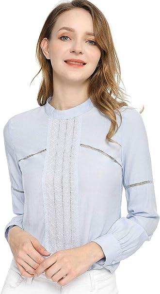 Allegra K Blusa Campesina Floral Bordada Cuello Redondo Boho Camiseta Top para Mujeres: Amazon.es: Ropa y accesorios