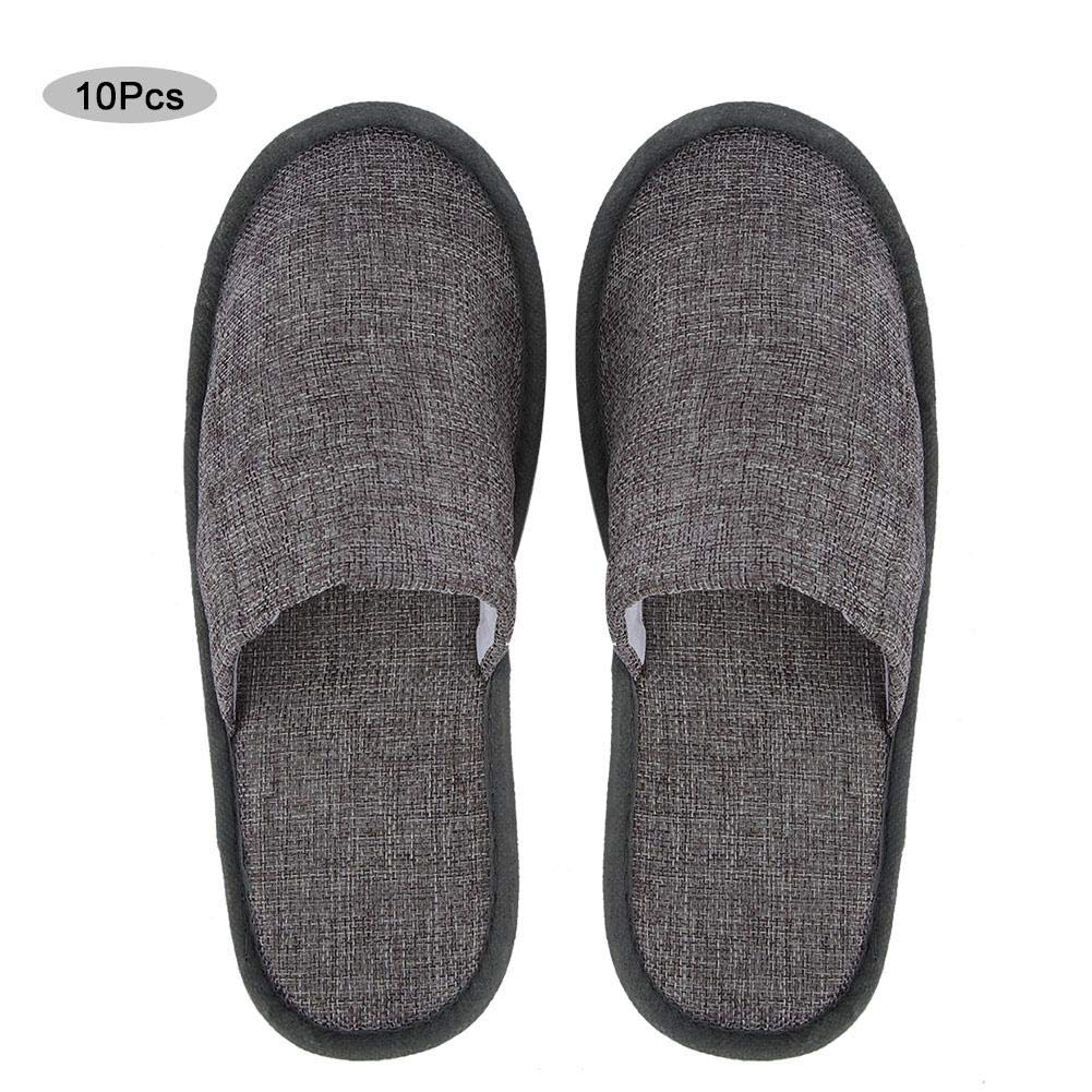 Fdit 10 Pairs of Indoor Home Slippers Disposable Slippers Hotel Slippers Travel Slippers(Gray) by Fdit