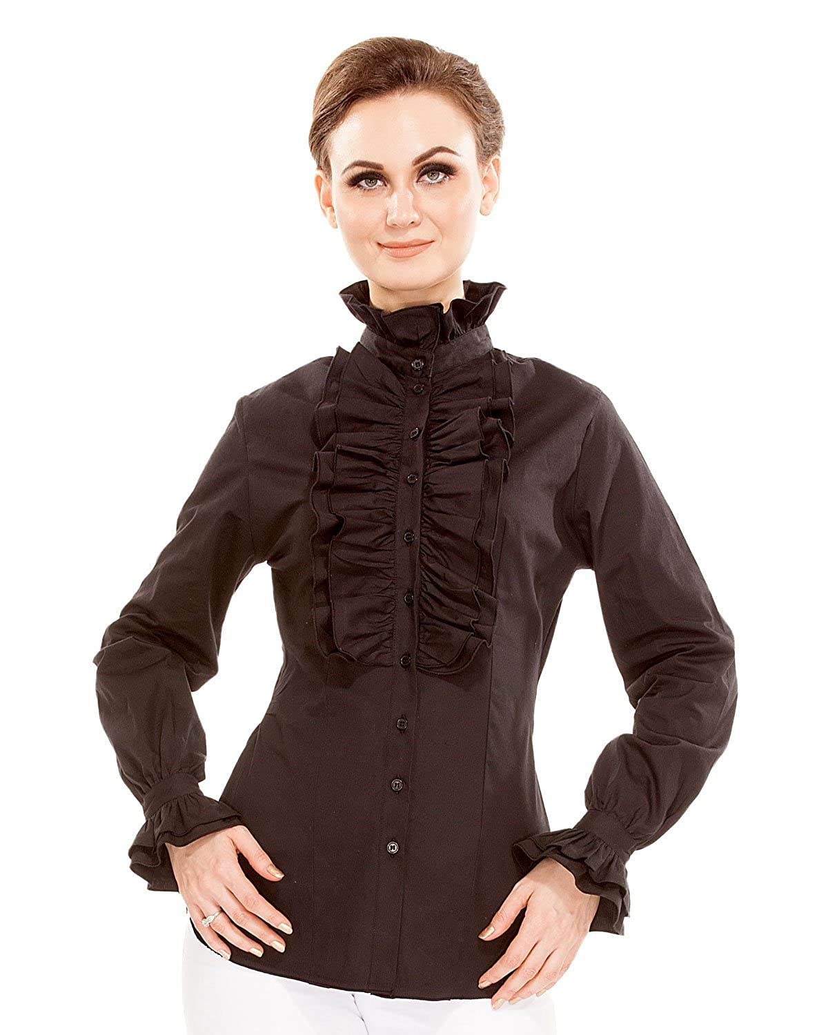 Edwardian Blouses | White & Black Lace Blouses & Sweaters ThePirateDressing Steampunk Gothic Victorian Cosplay Costume Womens Stand-up Collar 100% Cotton Blouse Shirt $41.95 AT vintagedancer.com