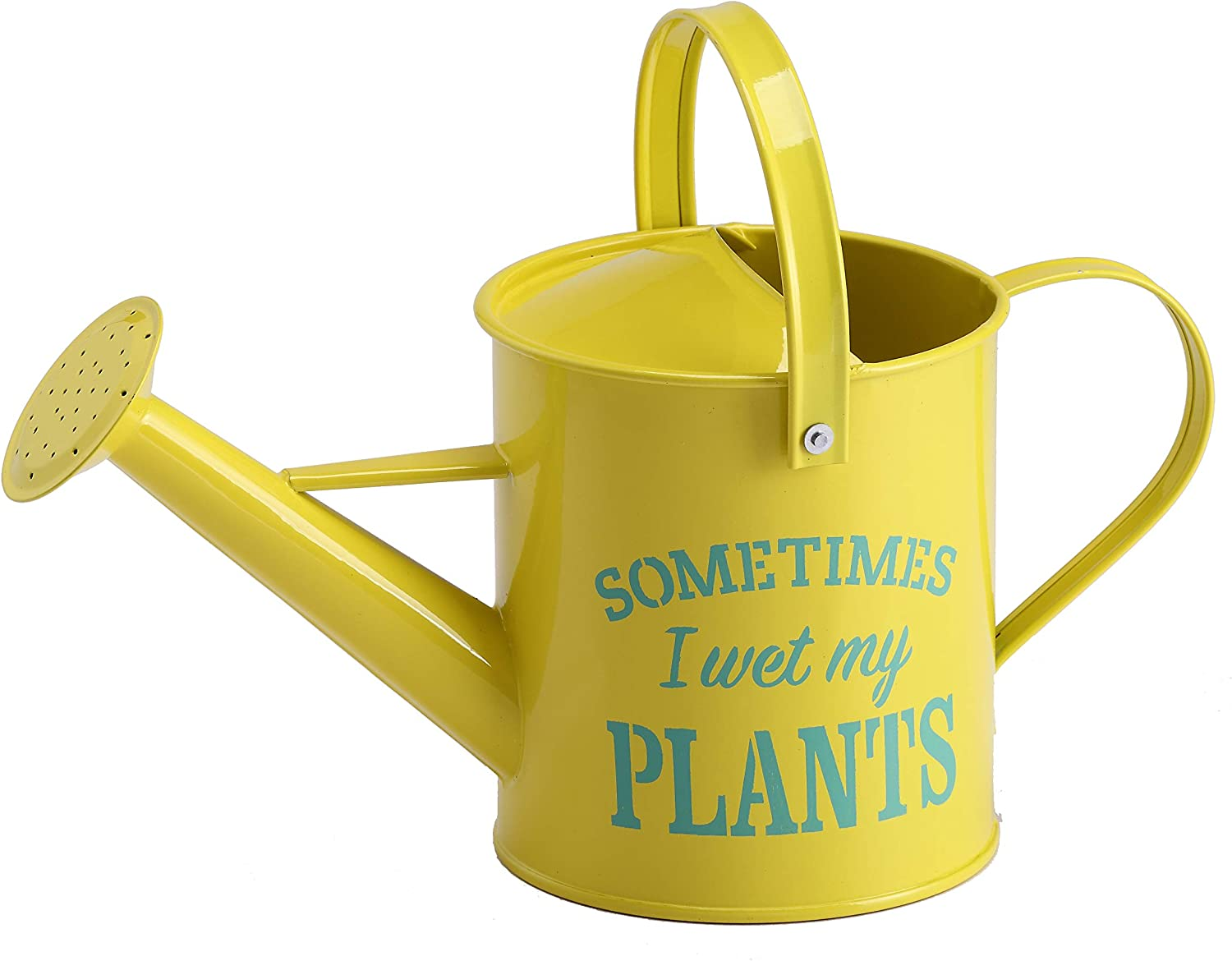 Laila and Lainey Small Indoor Watering Can - Housewarming Gardening Gift for Women - Decor: Wet My Plants Quote - 1.6 L - Great for Your Best Friend - Yellow Galvanized Metal