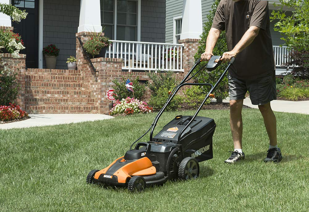 Worx wg744 cordless lawn mower 2 the 17 inches mower includes 2 removable 20v 4; 0ah batteries that delivers 40v power and performance patented intellicut provides additional torque on demand and the ability to conserve battery when desired premium 2 in 1 design that mulches, bags and rear discharges and includes a quick single lever cutting height adjustment.