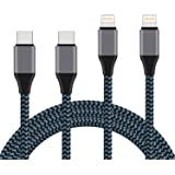 USB C to Lightning Cable, 2 Pack 2m(6ft) Nylon Braided MFi Certified iPhone Charger Compatible with iPhone X/XS/XR/XS Max/ 8/Plus, Supports Power Delivery (for use with Type C Chargers)