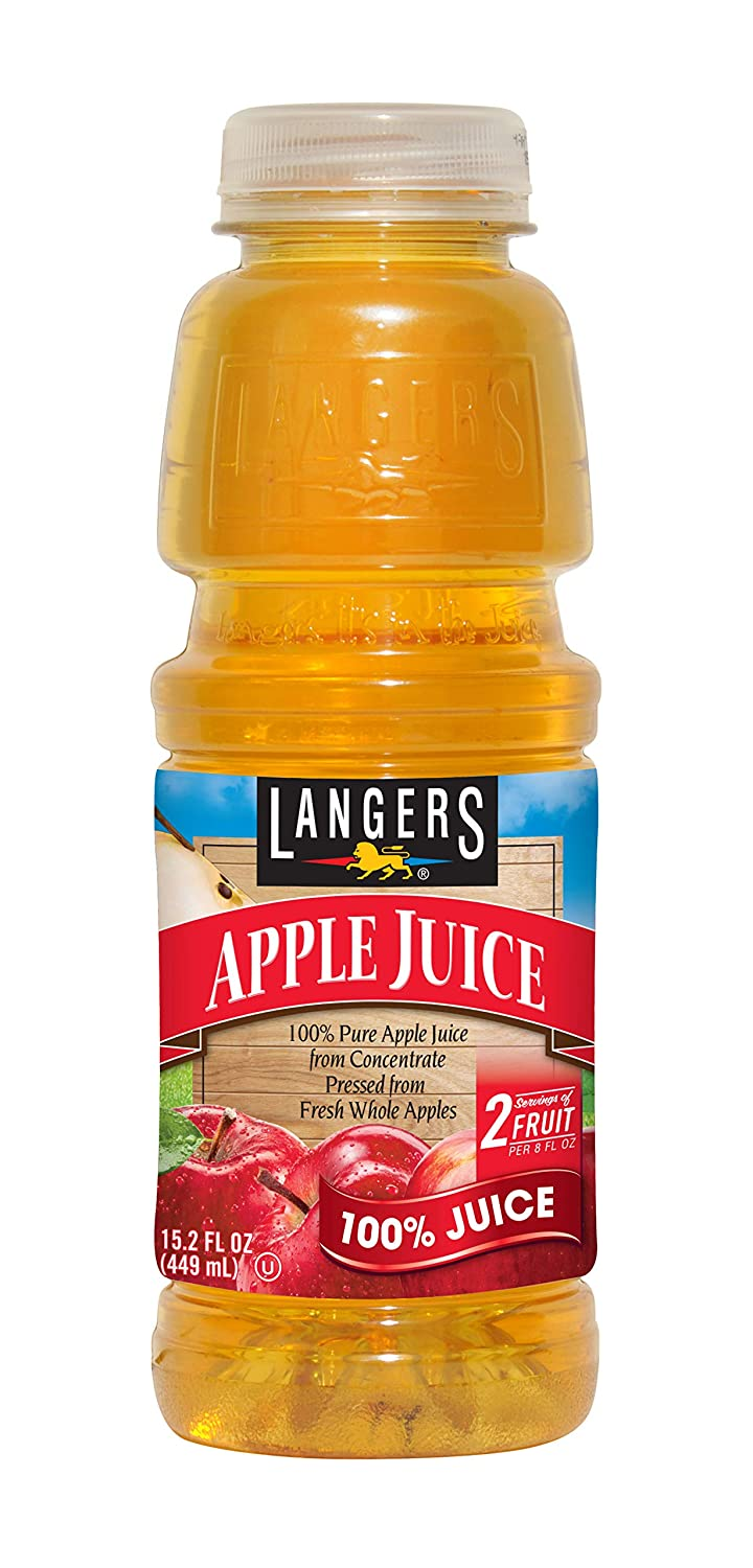 Langers 100% Apple Juice, 15.2 oz (Pack of 12)