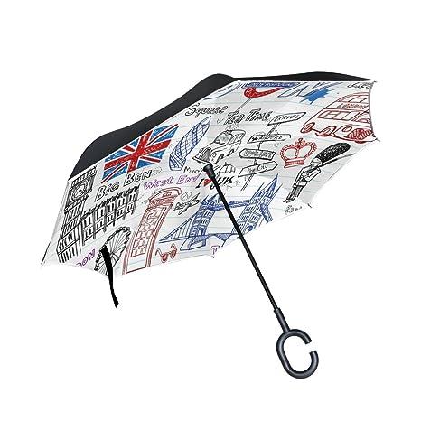 COOSUN Capa de Londres garabatos doble del paraguas invertido inversa para el coche y el uso