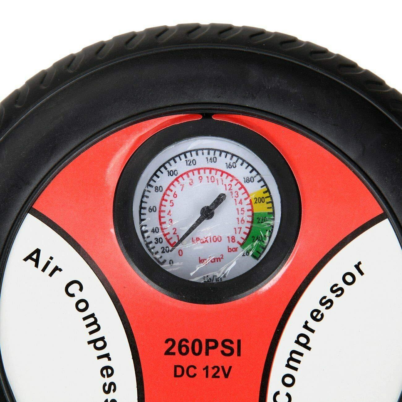 SUNIN Compresor de Aire para Coche Rueda Mechero 12V 260 PSI Electrico Pelotas Balones