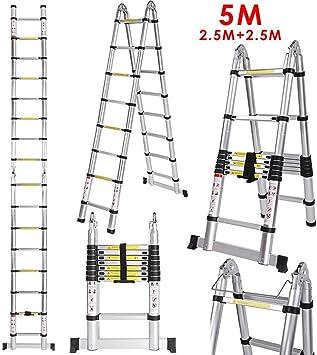 Acecoree Escalera Telescópica de Aluminio 5 Metros 2.5M+2.5M 16 Peldaños Carga de 150 KG: Amazon.es: Bricolaje y herramientas