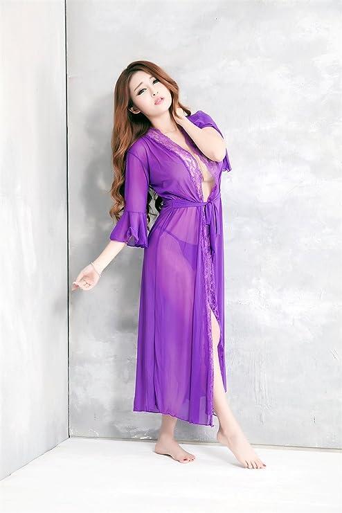 Conjunto de pijama sexy de encaje de falda larga morada sexy ...