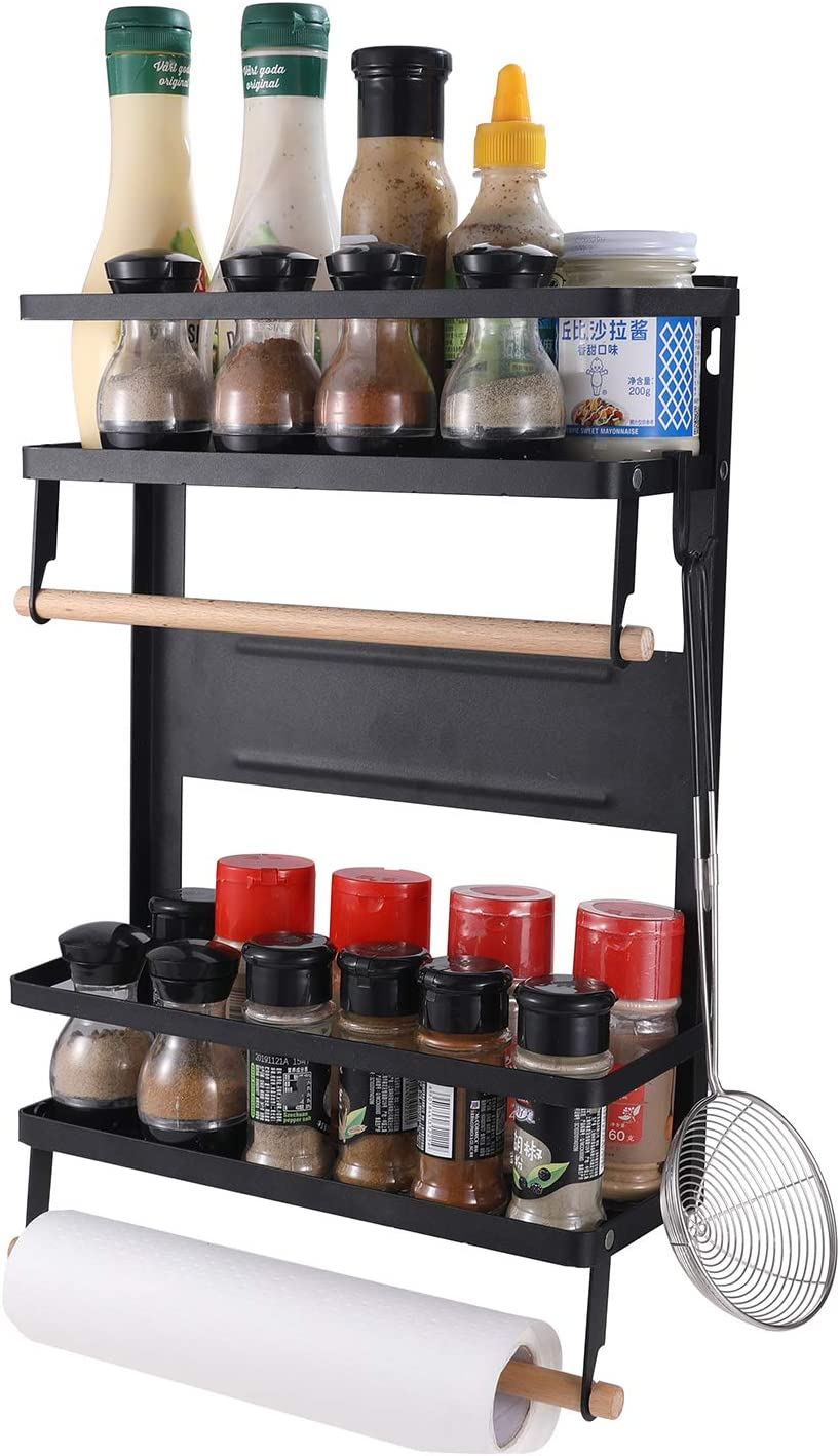 YCOCO 2 Tier Magnetic Storage Shelf,Spice Racks For Fridge With Paper Towel Holder 5 Removable Hooks,Organization for Home and Kitchen,Black