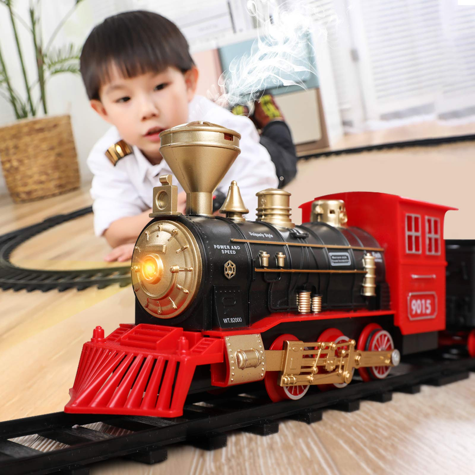 Temi Train Sets w/ Steam Locomotive Engine, Cargo Car and Tracks, Battery Operated Play Set Toy w/ Smoke, Light & Sounds…
