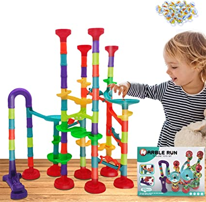 Amazon Com Marble Run Set 113 Pcs Marble Race Track Game For Kids Construction Educational Building Blocks Toys Age 3 Gift For Boy And Girl 83 Plastic Pieces 30 Glass Marbles Toys Games