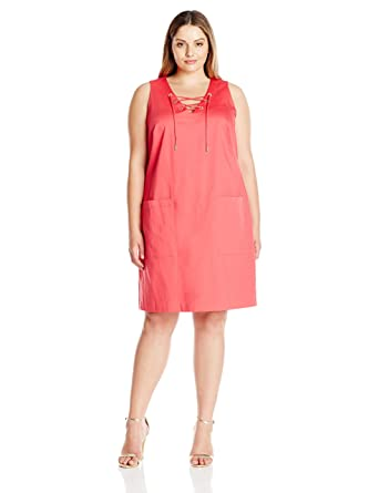 0bad5020 Calvin Klein Women's Plus Size Sleeveless Shift Dress with Lace Up Detail,  Watermelon, ...