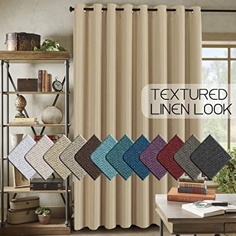h versailtex room darkening linen curtain for bedroom living room extra wide blackout curtains 100 x 84 inches for patio glass door primitive