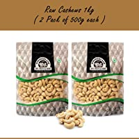Wonderland Foods 100% Natural Premium Quality Plain Raw Cashews, 1Kg Pack of 2 (500g Each)