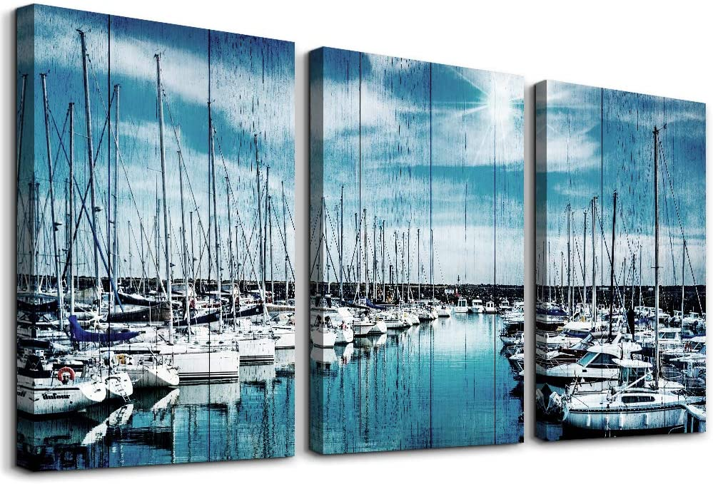 3 piece Framed inspiration Canvas Wall Art for Living Room family Bedroom Wall decor modern office Wall painting bathroom Decoration Blue sea ship scenery canvas pictures Artwork for home walls decor