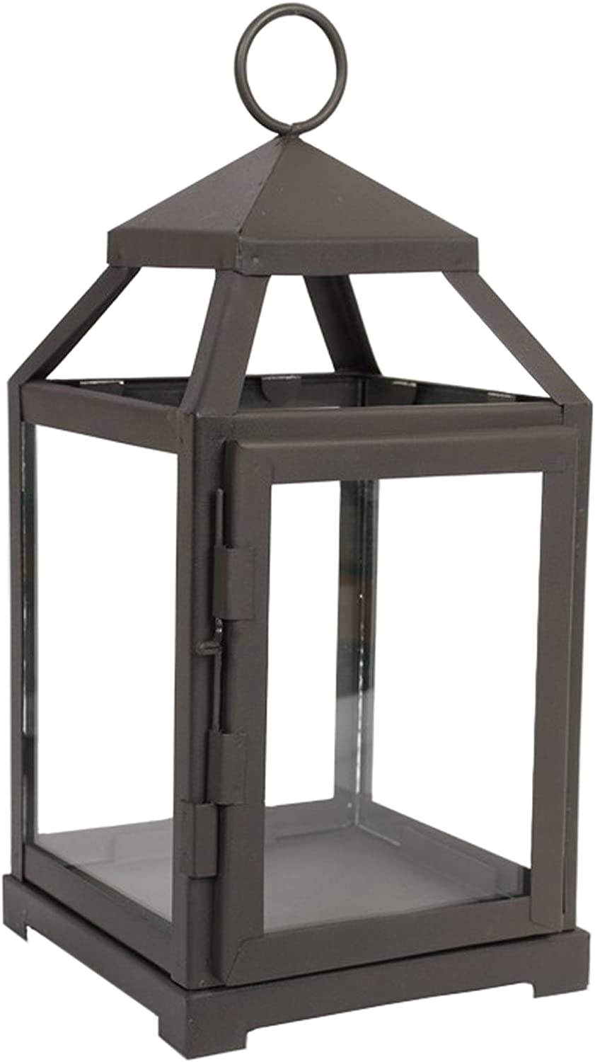 Hosley 12 Inch High Clear Glass and Iron Classic Style Lantern Ideal Gift for Festivities Weddings Aromatherapy and LED Spa Settings O3