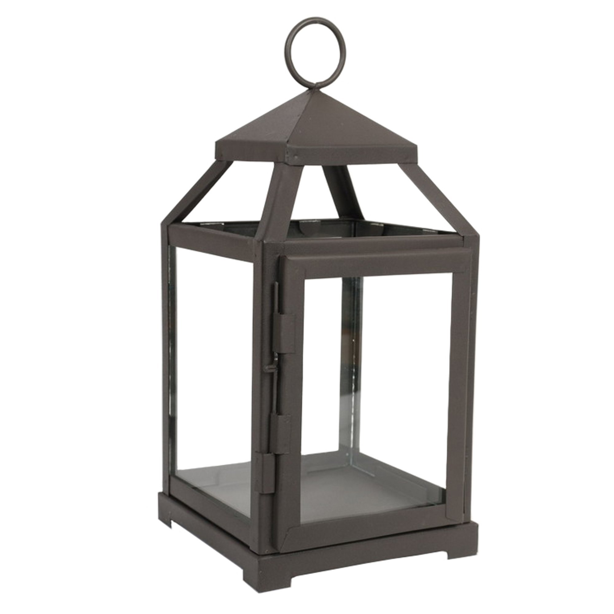 Hosley 12'' High Clear Glass & Iron, Classic Style Lantern. Ideal Gift for Festivities, Parties, Weddings, Aromatherapy and LED Spa Settings. O3