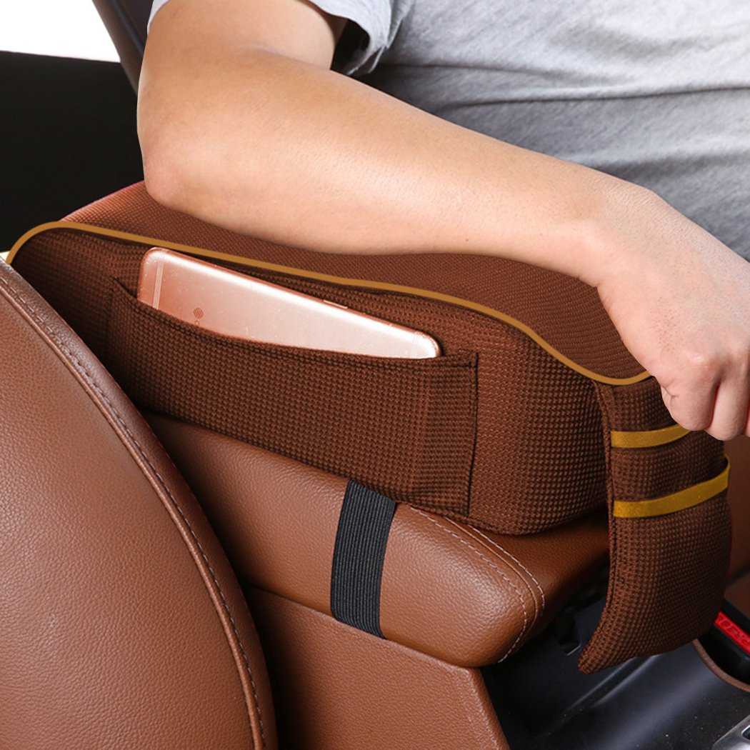 Red /& Black MLOVESIE Auto Center Console Armrest Pillow Memory Foam Car Armrest Cushion with Phone Holder Storage Bag Universal Fit for Most Car
