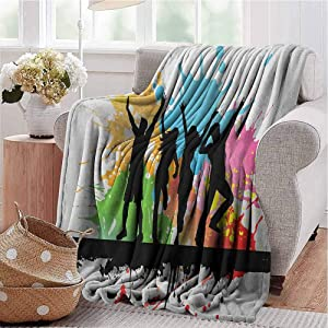 Youth Soft Light Weight Blanket Silhouettes of People Dancing Partying and Having Fun on Colorful Grunge Background Modern Decorative Throw Blanket for Couch, Sofa, Bed and Travel Multicolor W70 x L50